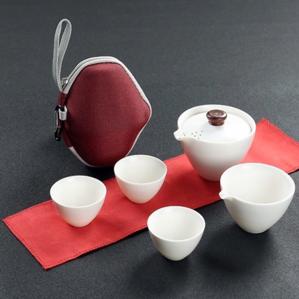 Japanese Portable Outdoor Travel White Coffee Tea set Teaware With Storage Bag Teapot Teacup Chinese Kung Fu Tea Sets Kettle Coffee Japan Gift