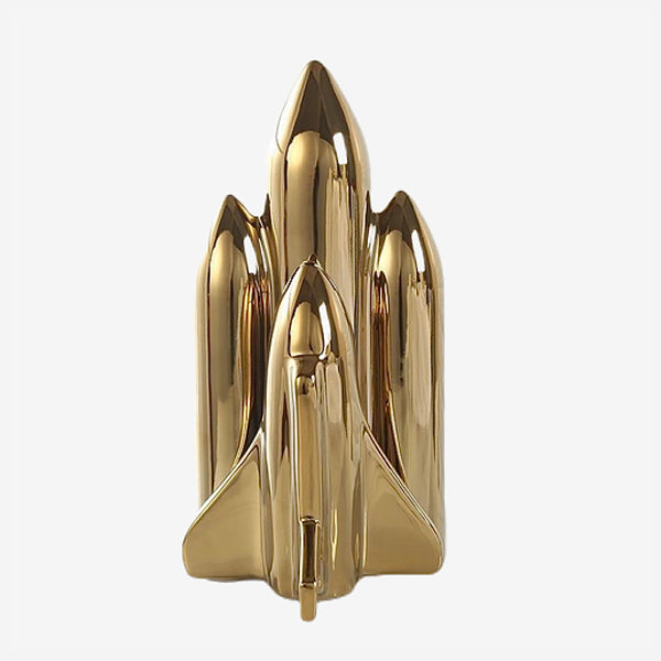 Gold Ceramic Space Shuttle Figurine Decoration Modern  Home Decor Spaceship Rocket  Nordic Ornament Trend