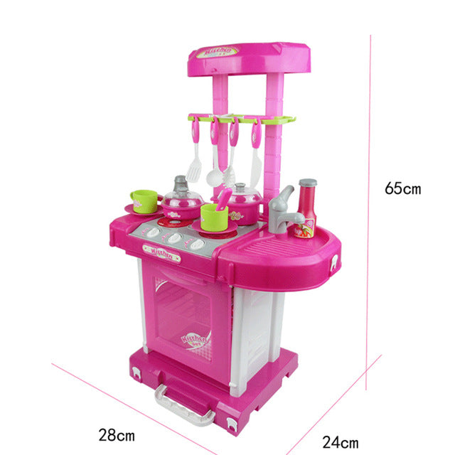 Pretend Play Pink Kitchen Set Child Toy Gender Neutral Boy Girl Kids Minature Portable Cooking Sets Size Chart