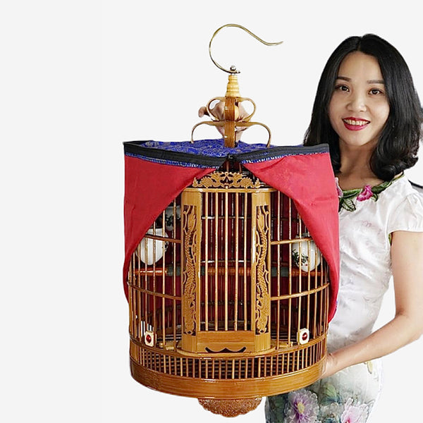 Handmade Bamboo Bird Cage   Luxury Boutique large set of old bamboo two-door carving thrush myna bird cages with ceramic feeder and water bowl Trend