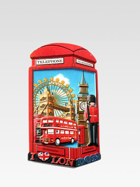 3D Fridge Magnet     London telephone box city icons decorative refrigerator magnets sticker 3D resin craft Tourist souvenir gifts Trend