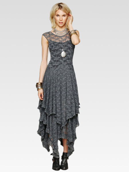 Irregular Lace Dress   Women's loose gray / grey sleeveless lace pleated hollow out layered irregular length plus size dresses Trend