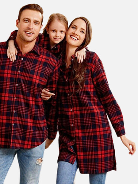 Family Match Plaid Shirts   Striped red cotton button front turn-down collar matching shirt Trend