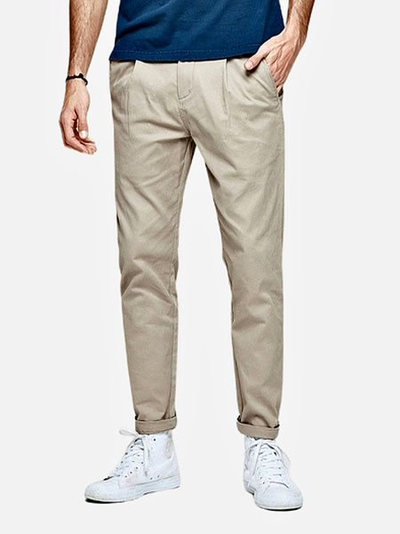 Vintage Khakis in Slim Fit      Casual Solid Apricot color Cotton Classic Long Slim Fit Straight Khaki Pants Men's Work Trousers Trend