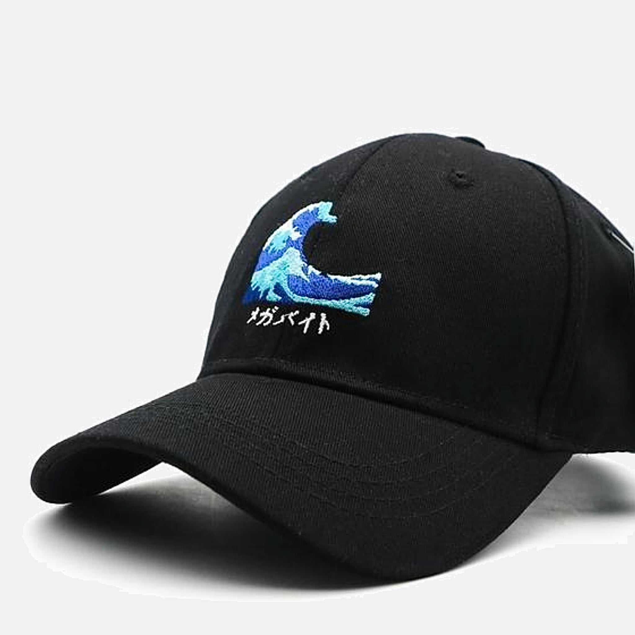 Japanese Harajuku The Wave Embroidery Baseball Cap Trend Black