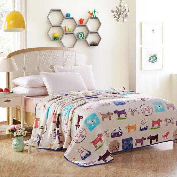 Soft Warm Animal Characters Blanket Throw Plush Thick Fleece Blankets for Sofa Bed Bedroom Home Decor Furnishing Trend