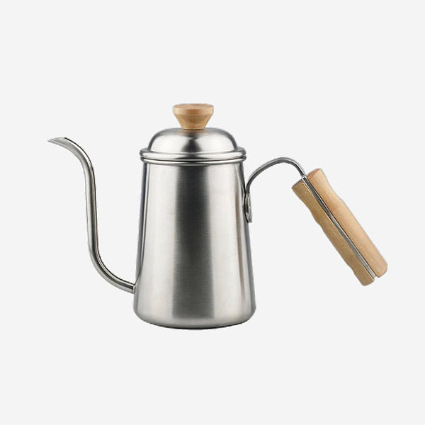 Long Narrow Gooseneck Spout Coffee Pot Stainless Steel Wooden Hand Pour Over Drip Kettle for Coffee Maker Trend