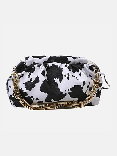 Crossbody Handbag   Pu Leather Cow Pattern Shoulder Bag with Chain Handbags And Purses Crossbody Bags Trend