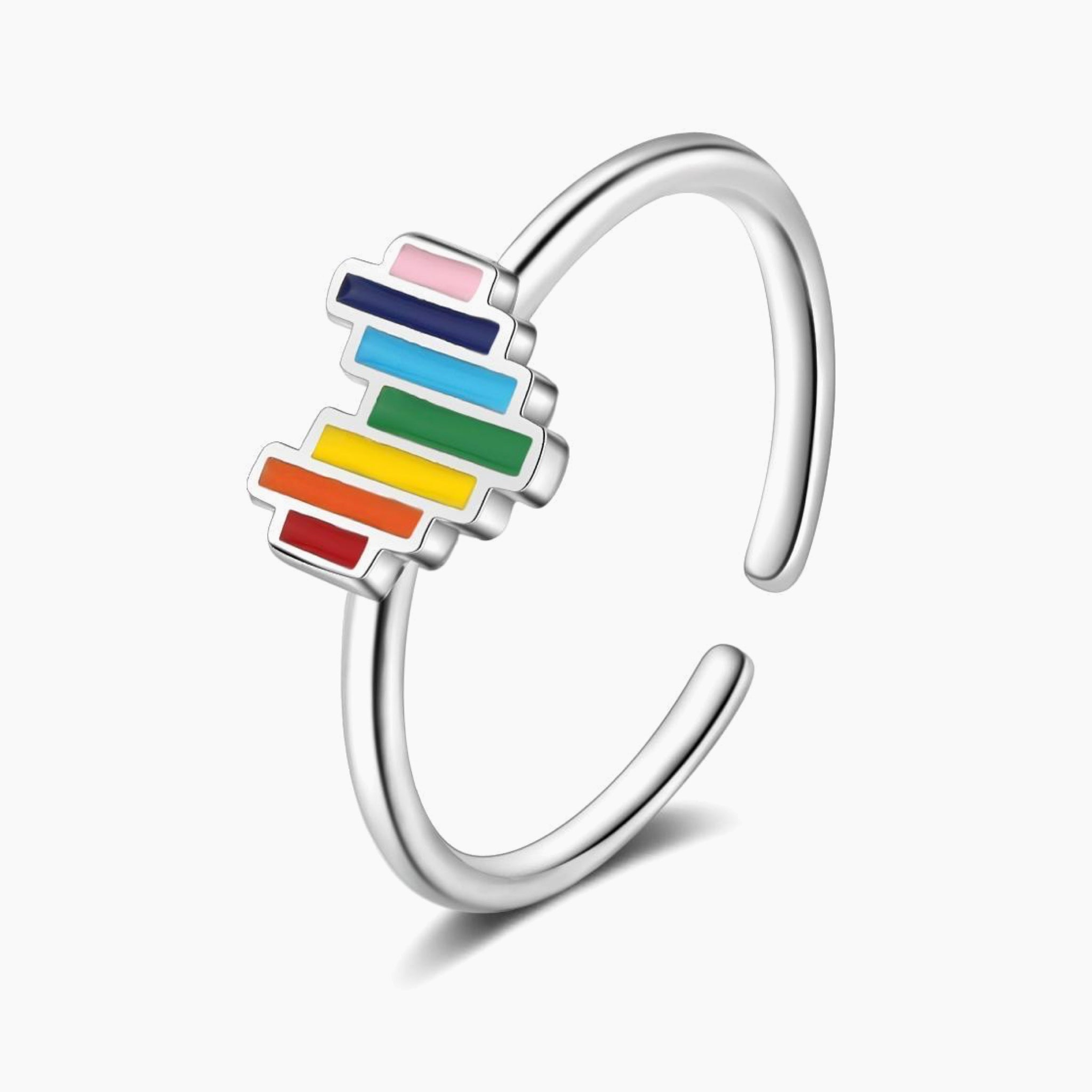Lovely Rainbow Heart Open Ring 925 Sterling Silver Open Size Finger Rings Fashion Jewelry Trend
