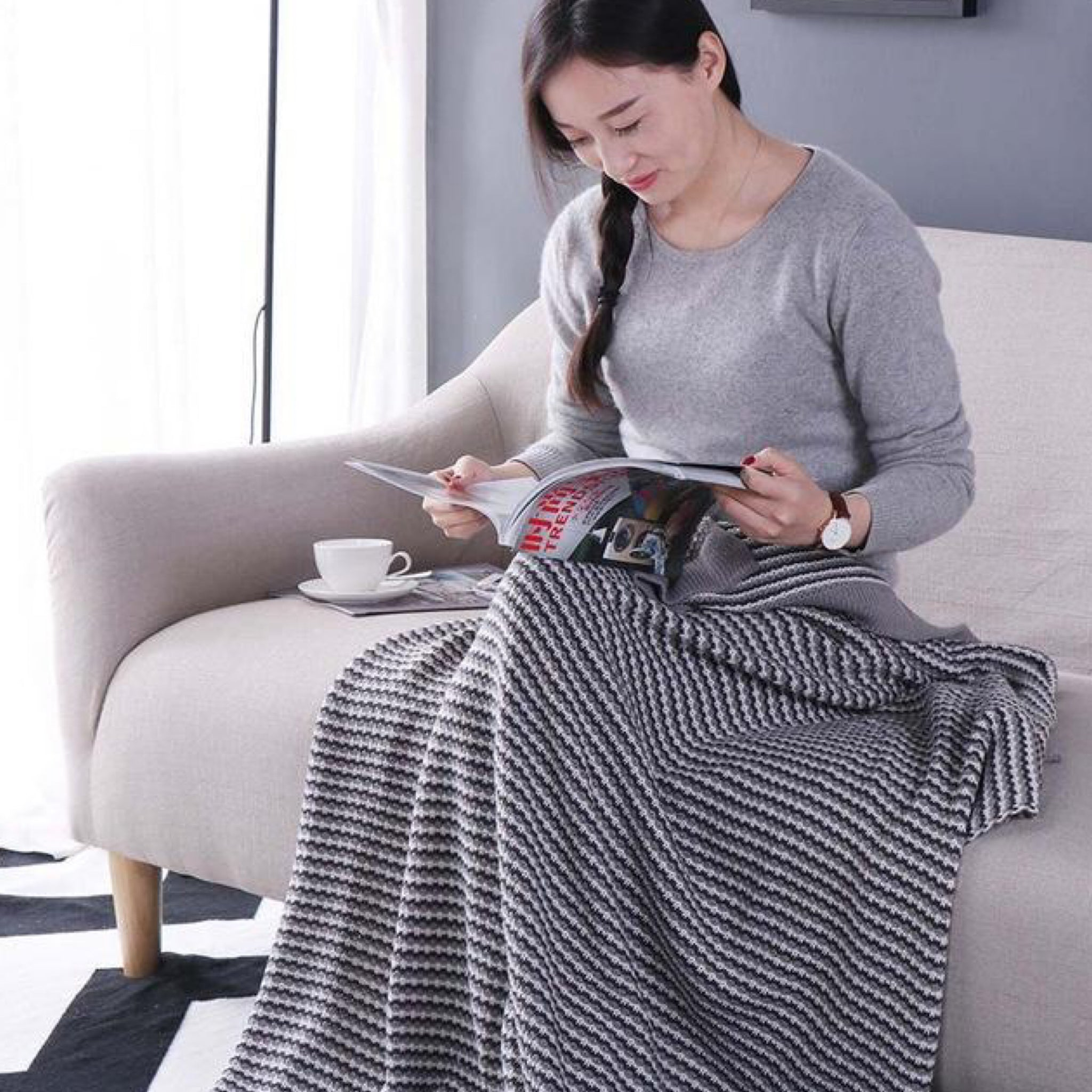 Japanese Gray / Grey Cotton Blanket Throws