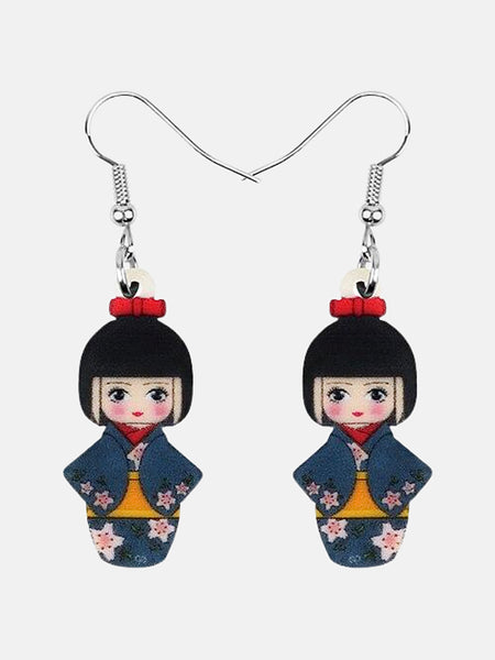Japanese Geisha Girl Earrings        Cherry Blossom Blue Kimono Geisha Girl Doll Earrings Drop Dangle Jewelry Gift Japan Kawaii Jewellery Trend