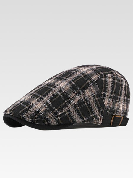 Gatsby Newsboy Cap    British style flat cap for men and women Vintage plaid checkered beret hat driver cabbie hats Trending color Black