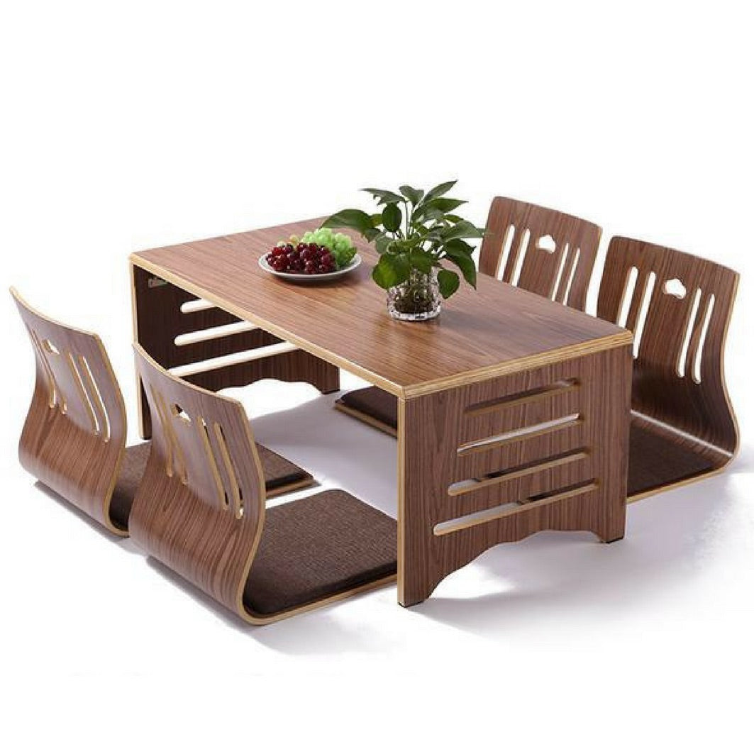 Modern Japanese Walnut Dining Table and Chair Set Asian Dining Furniture Design