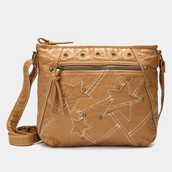 Fashion Women Khaki Denim Bag Luxury Designer Handbag Jeans Shoulder Bag Star Patchwork Denim Jeans Bags Soft Washed Leather Crossbody Bag Purse Trend