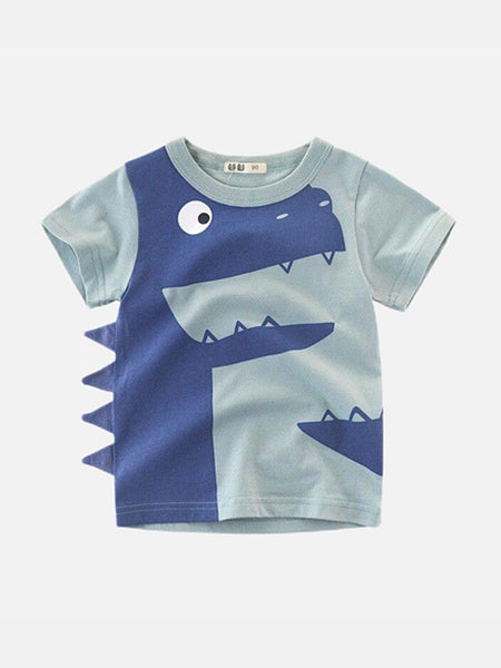 Toddler Crewneck T-Shirt       Dinosaur cartoon blue short sleeve infant tshirt tee Trend