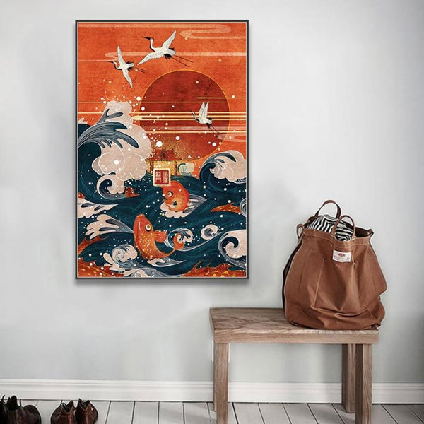 Japanese Landscape Painting Wave Crane Red Sun Canvas Art Print Painting Poster Wall Pictures Japan Home Decoration Artwork Trend
