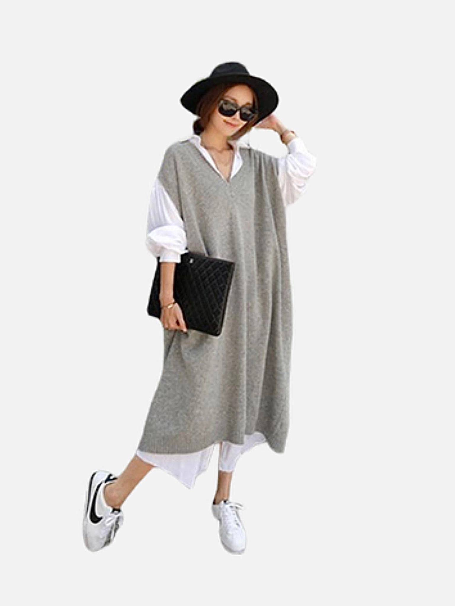 Sleeveless Knit Sweater Dress       Casual oversize straight thick gray / grey knitted long v-neck vest dresses Trend