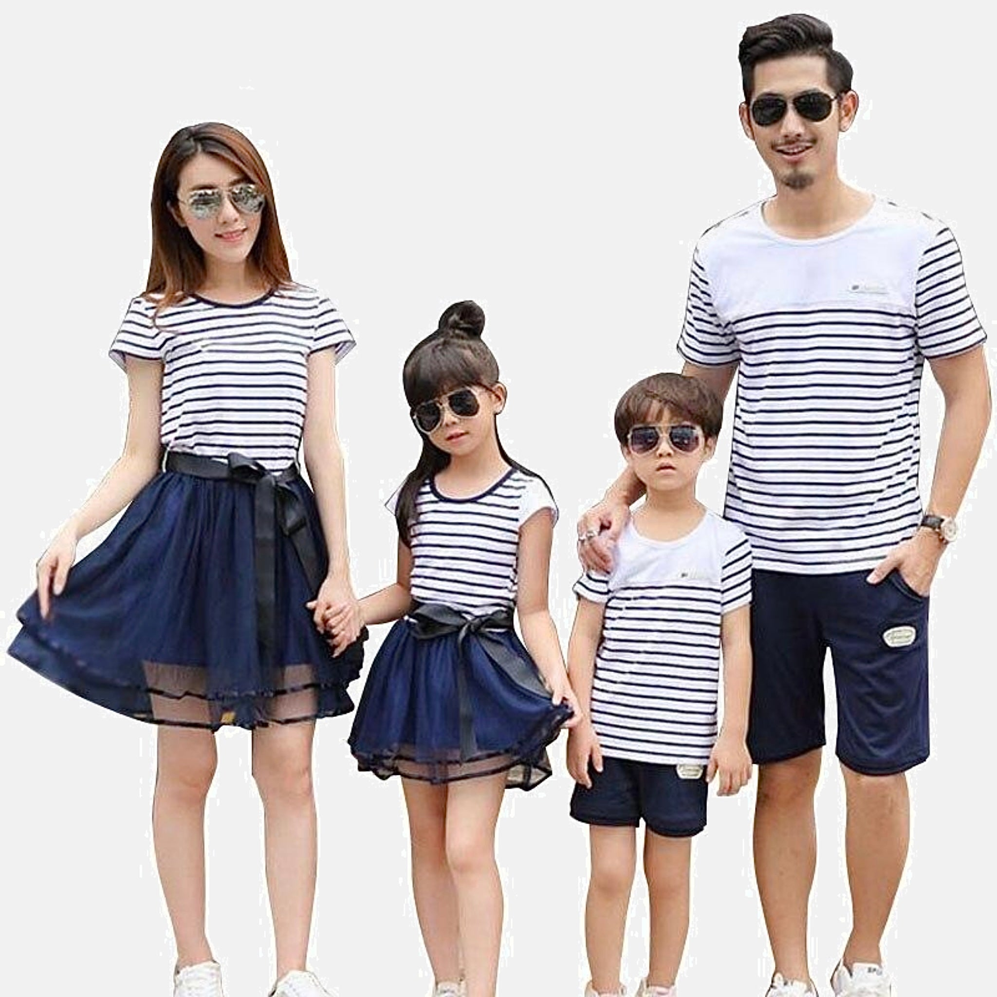 Family Match Sets   Striped cotton boatneck T-Shirt mother daughter mom girls toddler mesh midi skirt Father son dad boys toddlers navy blue shorts Matching clothing outfits