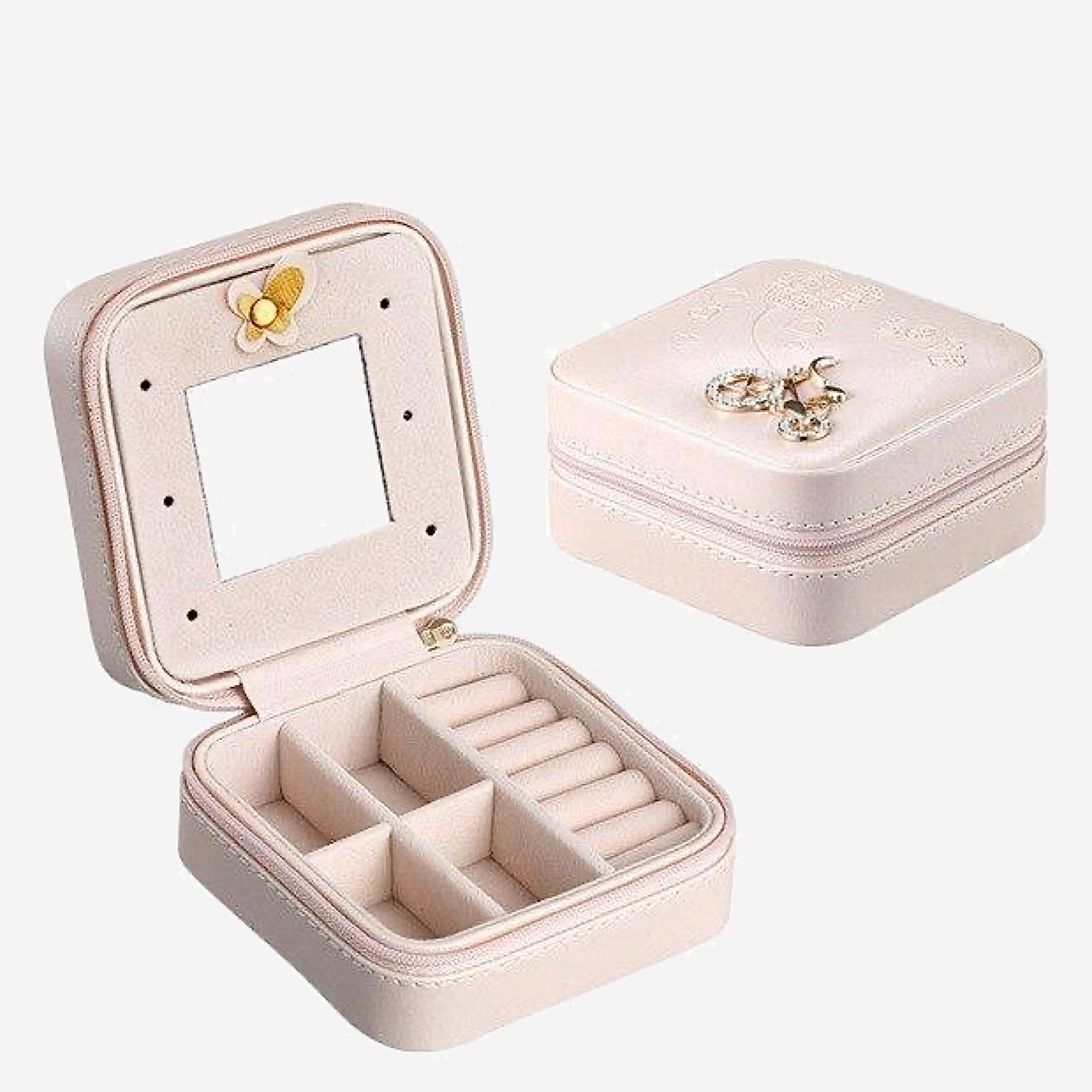 Leather Jewelry Box Travel earring boxes Holder Portable Storage Zip Organizer Case Trend Light Pink