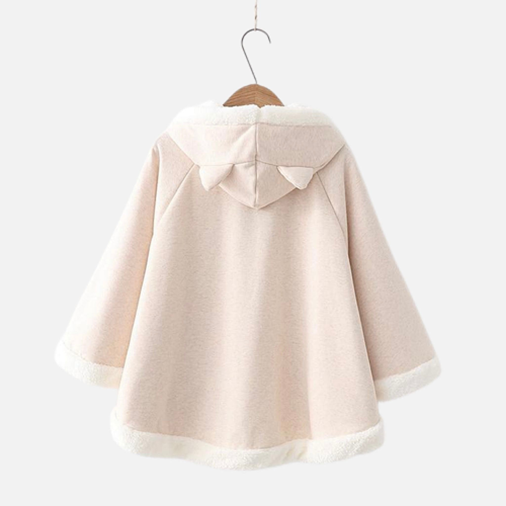 Batwing Fleece Hooded Poncho   Kawaii Ears Japanese Lucky Cat Loose Sleeve Beige Pullover Cape Top Harajuku Hooded Cloak Outwear Back View
