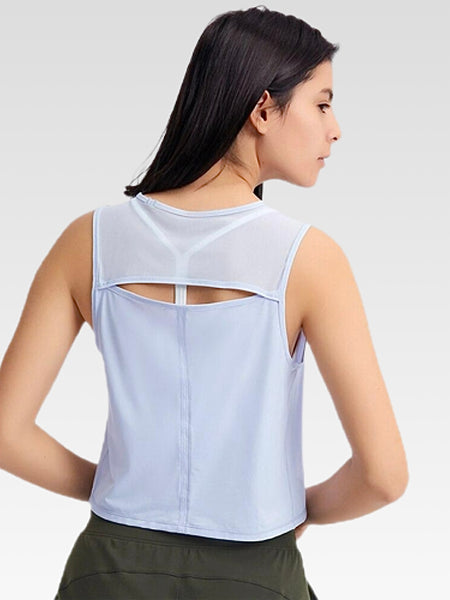 miFit Boatneck Tank Top      Back open exercise yoga sport light blue crop top vest Women's quick dry ultralight workout fitness athletic gym activewear Trend