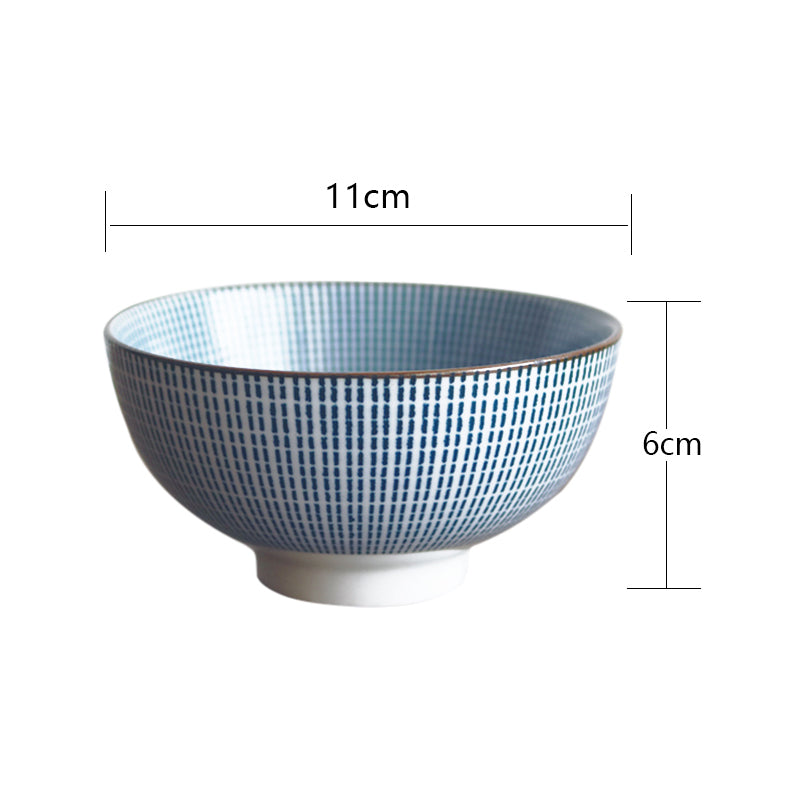 4 Piece Traditional Japanese Ceramic Dinner Bowls Set Design Size Chart
