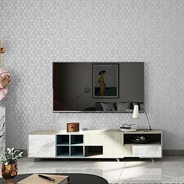 Luxury Geometric Wallpaper Roll Grey / Gray Wall Paper Modern Design Bedroom Living Room Background Home Wall Decor Trend