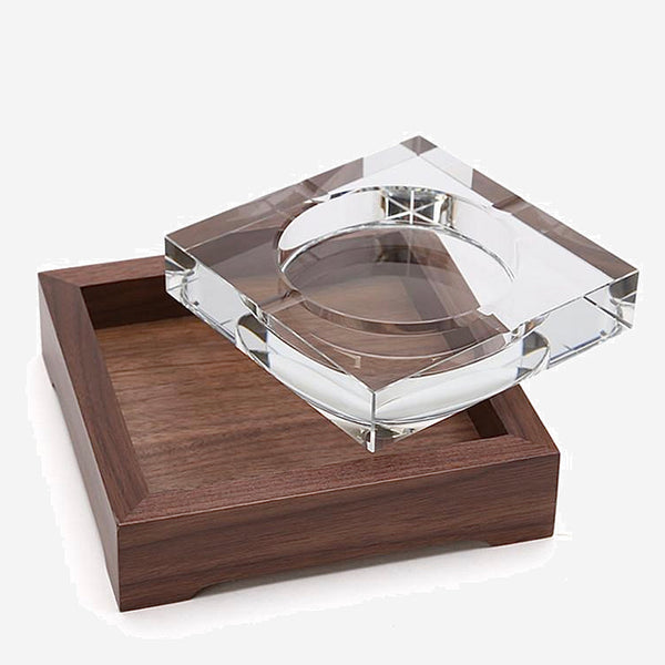 European Dark Wood Glass Ashtray Tobacco cigarette wooden ash holder