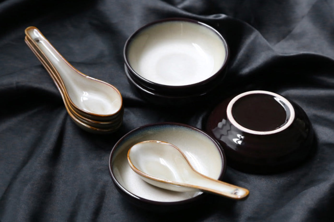 Japanese Red Plum Porcelain Tableware Japan On-Glaze Ceramic Dinnerware Dinner Sets JPN Style C