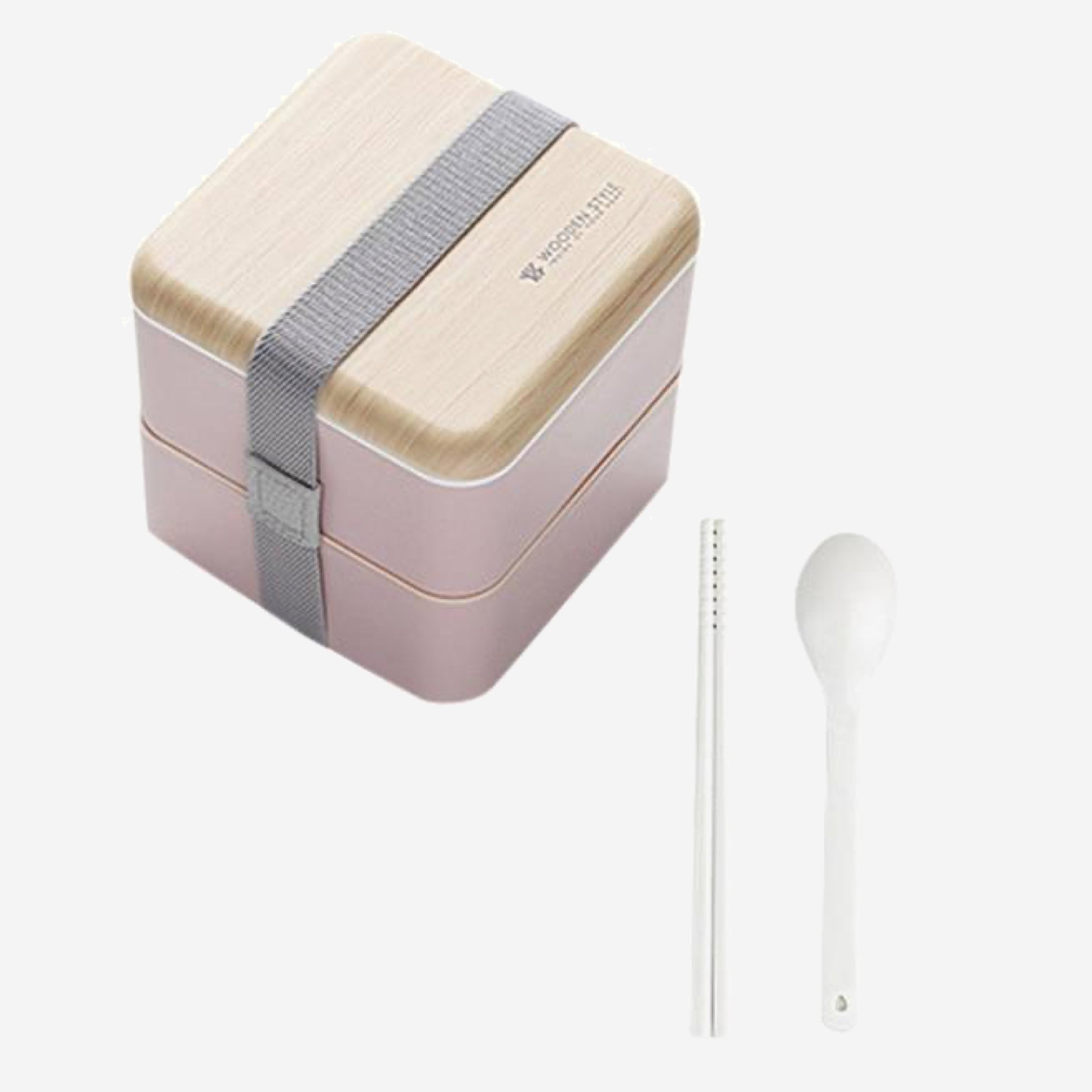 Bento Lunch Box 2-Layer   Japanese Microwave Food Container Storage Case with Spoon and Chopsticks Japan meal boxes Color Pink Trend