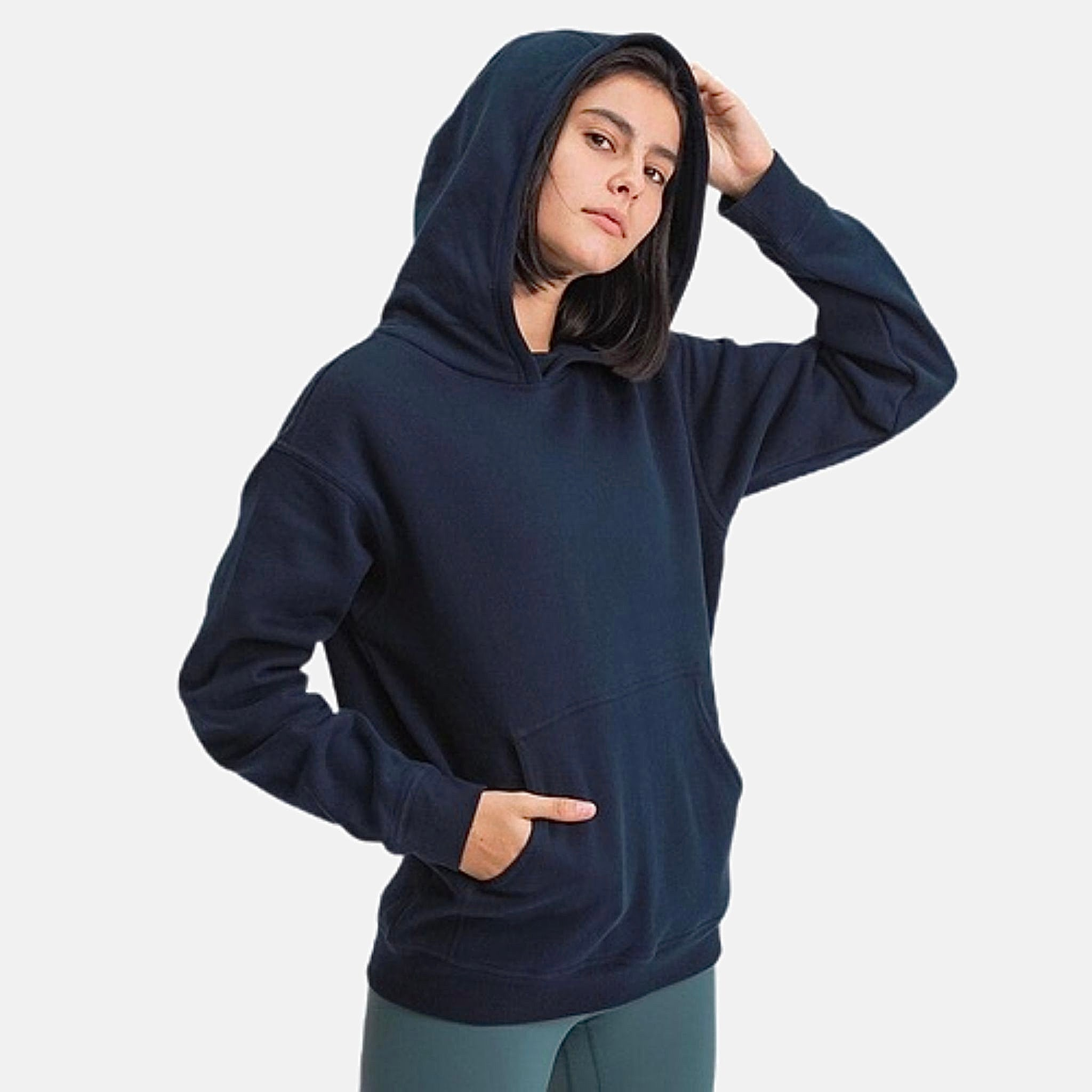 Vintage Fleece Hoodie      Classic Leisure Pocket Warm Hip Length Navy Blue color Hooded Exercise Training Gym Sport Fitness Workout Women's Outdoor miFit Sweatshirts