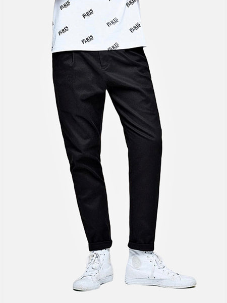 Vintage Khakis in Slim Fit   Casual Solid Black color Cotton Classic Long Slim Fit Straight Khaki Pants Men's Work Trousers Trend