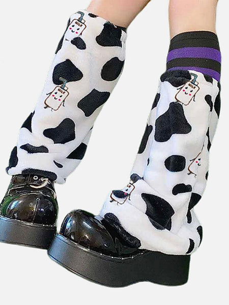 Kawaii Leg Warmer         Cute Velvet Warm Cow print Cartoon Lolita Sock Women's Leg Warmers Streetwear Fashion Trend