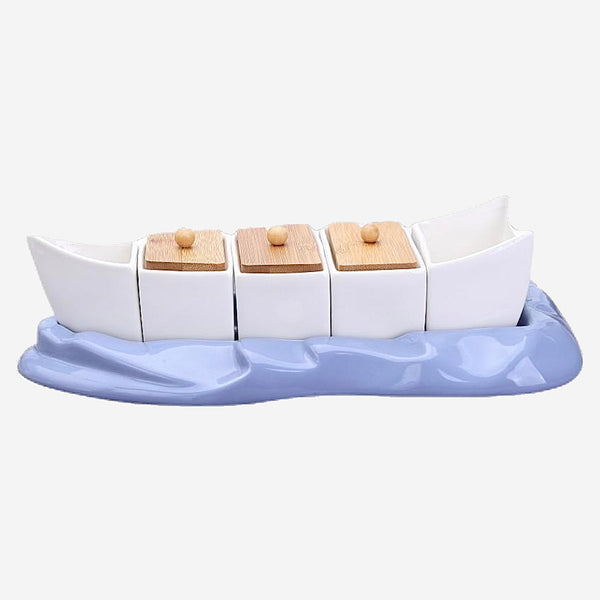 Boat Shaped Ceramic Condiment Jar Set Decorative Porcelain Seasoning Flavoring Pot Kitchen Tableware Supplies Trend