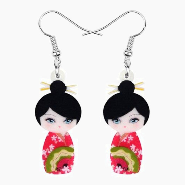 Acrylic Japanese Kimono Girl Doll Earrings Drop Dangle Jewelry Japan Charms Gift Trend