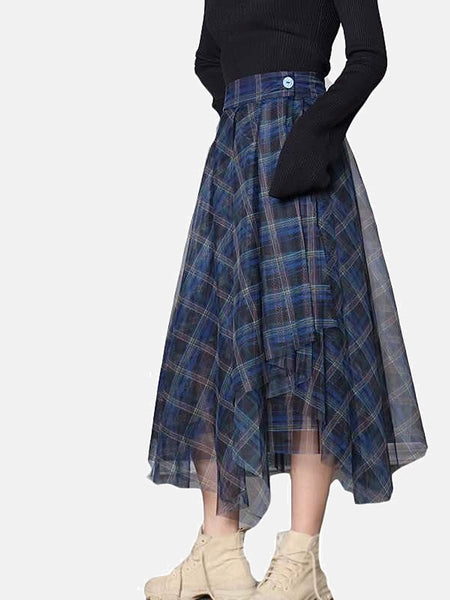 High Waist Skirt      Casual blue patchwork mesh plus size loose plaid Women's skirts Trend
