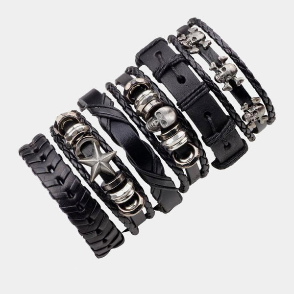 6 Piece Leather Charm Bracelets - 18 Styles Trend
