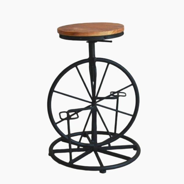 Kitchen Bar Stools Bicycle Style Wrought Iron Chair Wheel Stool Industrial Wind Lifting Retro Bar Stools Solid Wood Leisure Chairs Trend