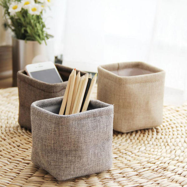 Mini Japanese Linen Pen Holder Desktop Boxes Cloth Art Brush Pot Photo Props Simple and Lovely Japan Key Box Little Pen Holders Trend