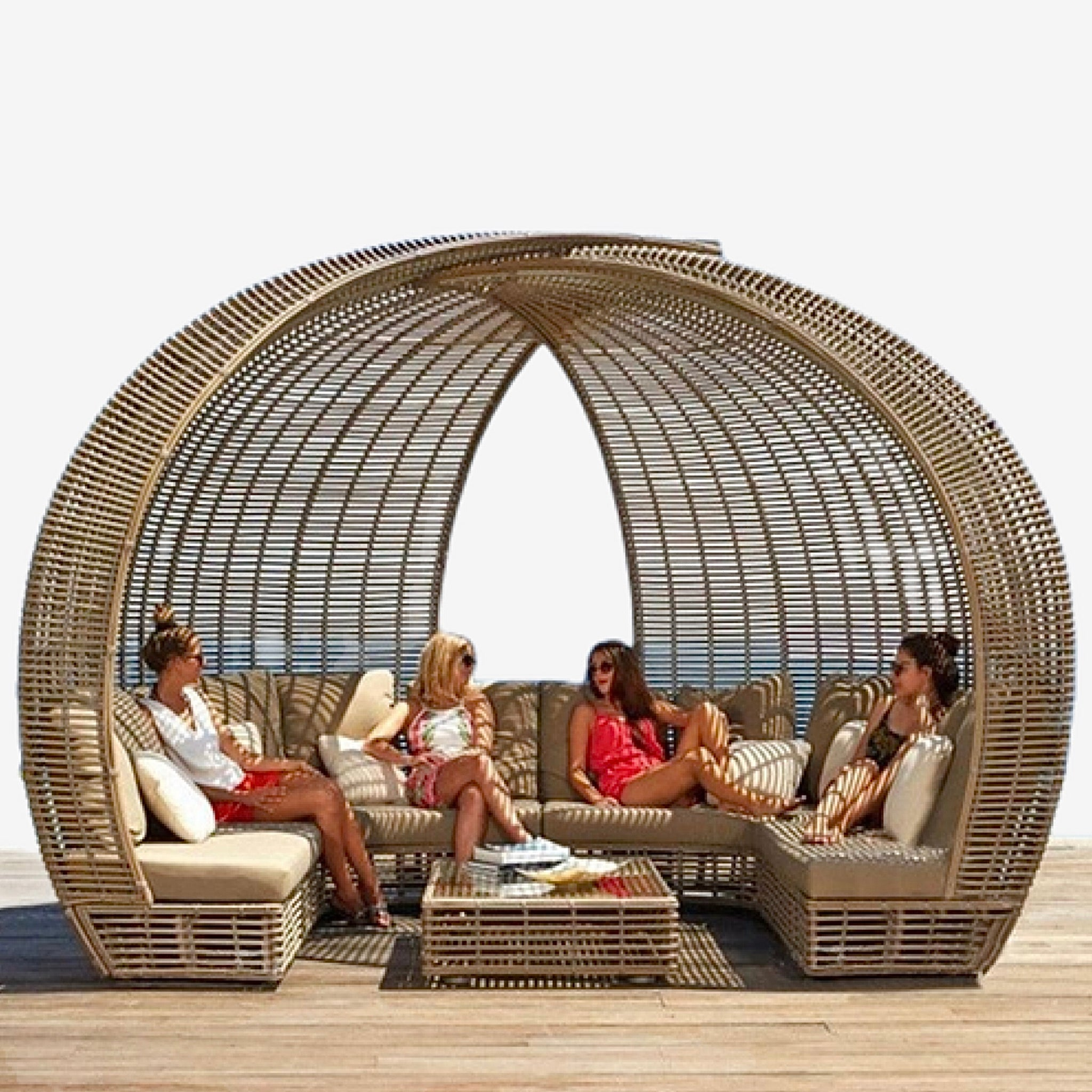 Outdoor Rattan Lounger Set   Sofa Lying Bed Canopy Balcony Villa PE Rattan Chairs Sets Trend