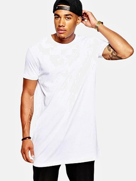 Vintage Crewneck T-Shirt   Classic White Cotton Hip Hop Extra Long Length Men's Tops Tee Tshirt Trend