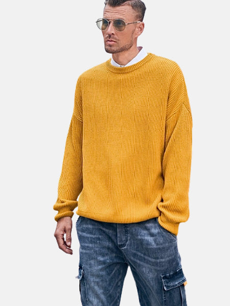 Crewneck Ribbed Sweater        Thick warm o-neck solid yellow loose mens pullover knitwear over plus size sweaters Trend
