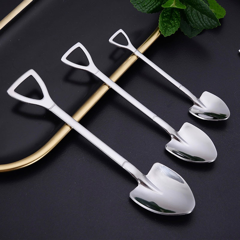 Stainless Steel Shovel Spoon   Coffee Tea Snack Salad Dessert Serving Utensil Spoons Kitchen Tableware Trending