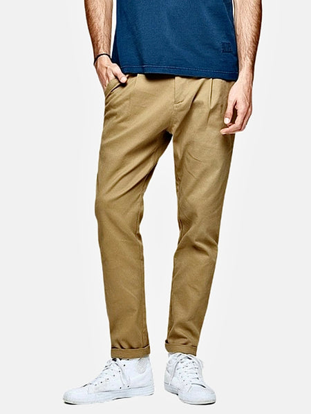 Vintage Khakis in Slim Fit      Casual Solid Light khaki color Cotton Classic Long Slim Fit Straight Khaki Pants Men's Work Trousers Trend