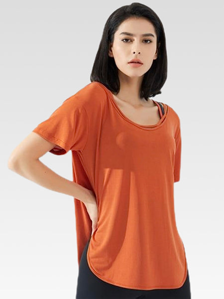 miFit Oversized T-Shirt     Women's running yoga short-sleeved orange fitness harajuku top Trend