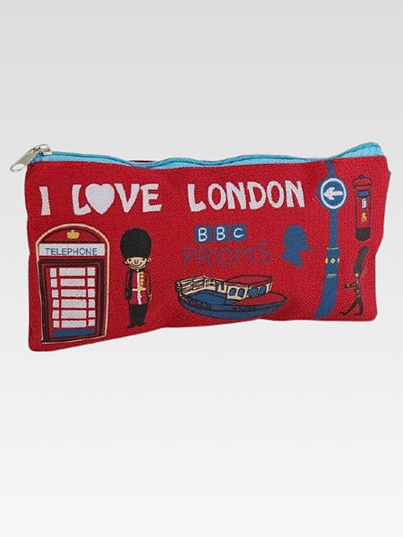 London Canvas Bag     Canvas pen pencil red waterproof cosmetics makeup zipper bags school supplies stationery storage organizer case Trend