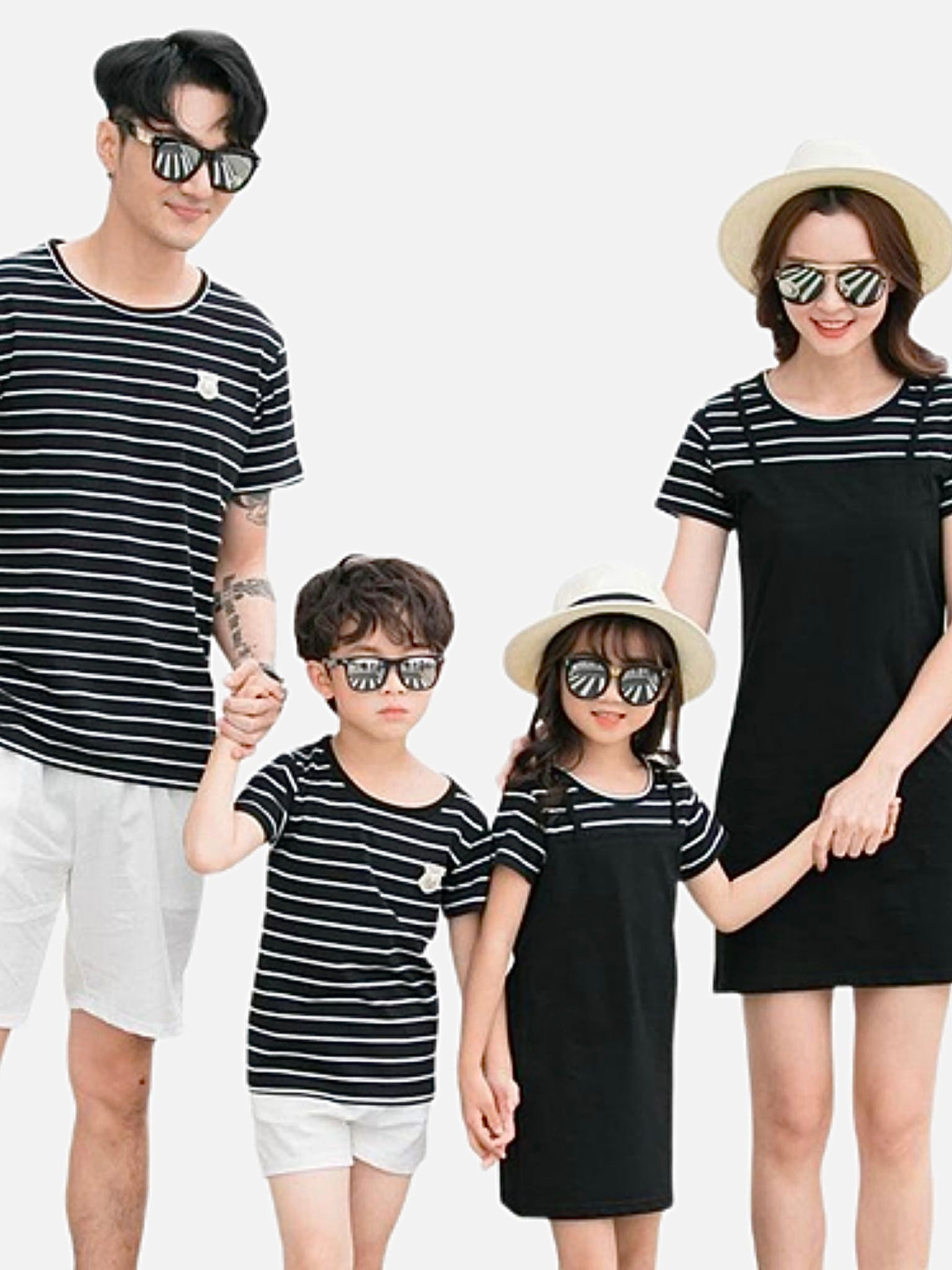 Family Match Sets   Mom girls midi dress black striped T-Shirt dad boys shorts Family matching outfits Trend
