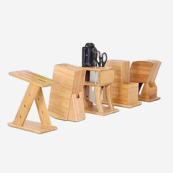Multifunctional Bamboo Knife Block Creative Storage Racks Tool Wood Kitchen knives Holder Rack Stand Trend