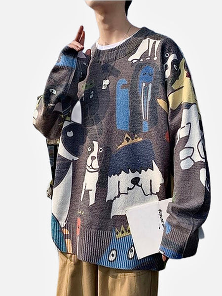 Crewneck Sweater     Casual Gray / Grey color Cotton Wool Knitted with Cartoon print O-Neck Pullover Men's Sweaters Trend