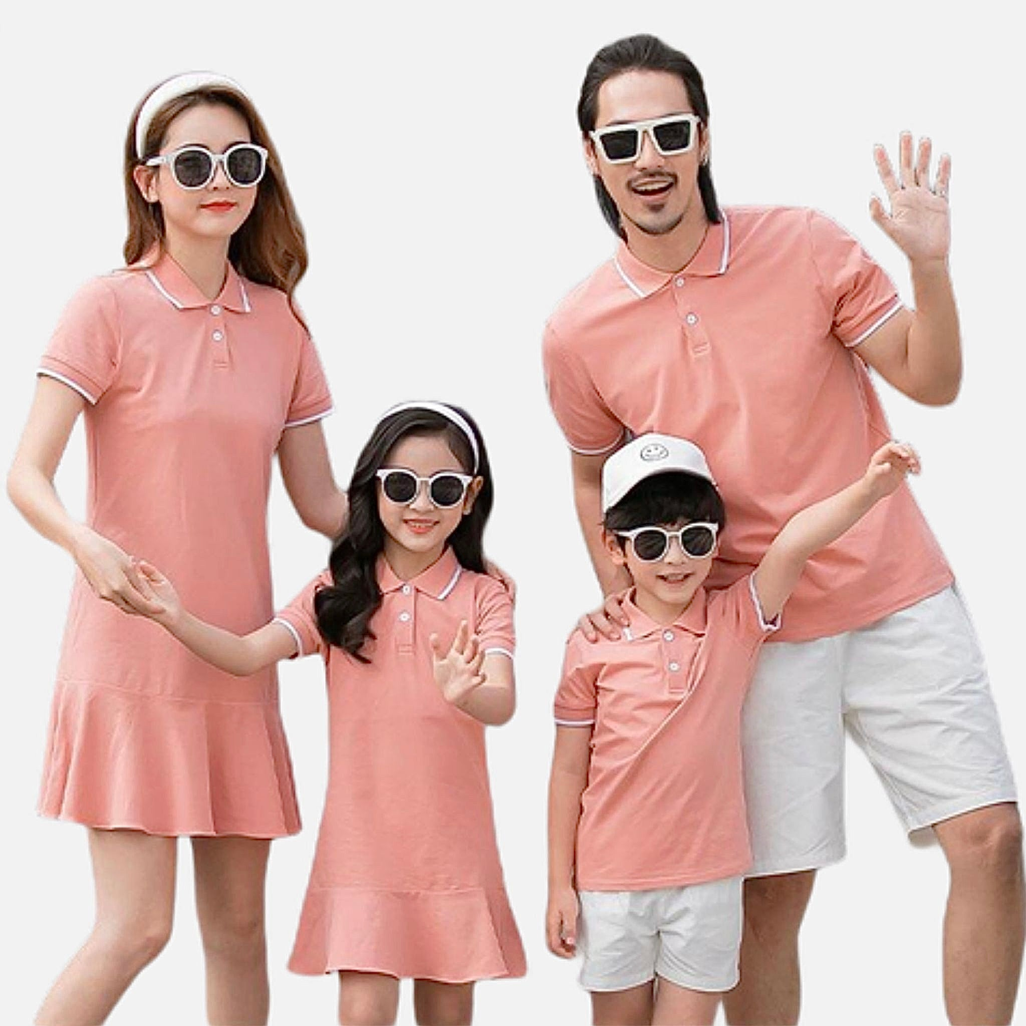 Family Match Outfits   Women girl peach dress mother daughter dresses mens boy father son peach T-Shirts white shorts pants Matching clothing